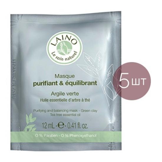 Лено Очищающая и регулирующая маска для лица с зеленой глиной (5 штук) Laino Purifying and Balancing Mask - Green Clay