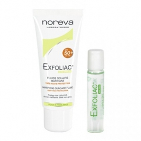 Норева Набор Эксфолиак (2 средства) Set Exfoliac Fluide solaire matifiant SPF50+ Roll'on